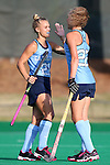 09 October 2015: North Carolina's Casey Di Nardo (21) celebrates her goal with Eva van't Hoog (NED) (22). The University of North Carolina Tar Heels hosted the Longwood University Lancers at Francis E. Henry Stadium in Chapel Hill, North Carolina in a 2015 NCAA Division I Field Hockey match. UNC won the game 8-1.