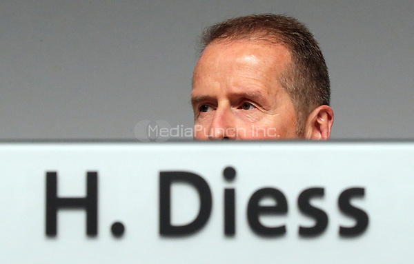 03 May 2018, Germany, Berlin: Herbert Diess, CEO of Volkswagen AG, at the Volkswagen AG annual general meeting at the Messegelaende in Berlin. Photo: Wolfgang Kumm/dpa /MediaPunch ***FOR USA ONLY***