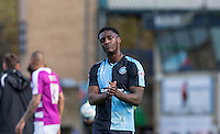 MOTM Anthony Stewart of Wycombe Wanderers shows his disappointment with the 1-1 draw at the final whistle during the Sky Bet League 2 match between Wycombe Wanderers and Barnet at Adams Park, High Wycombe, England on 16 April 2016. Photo by Andy Rowland.