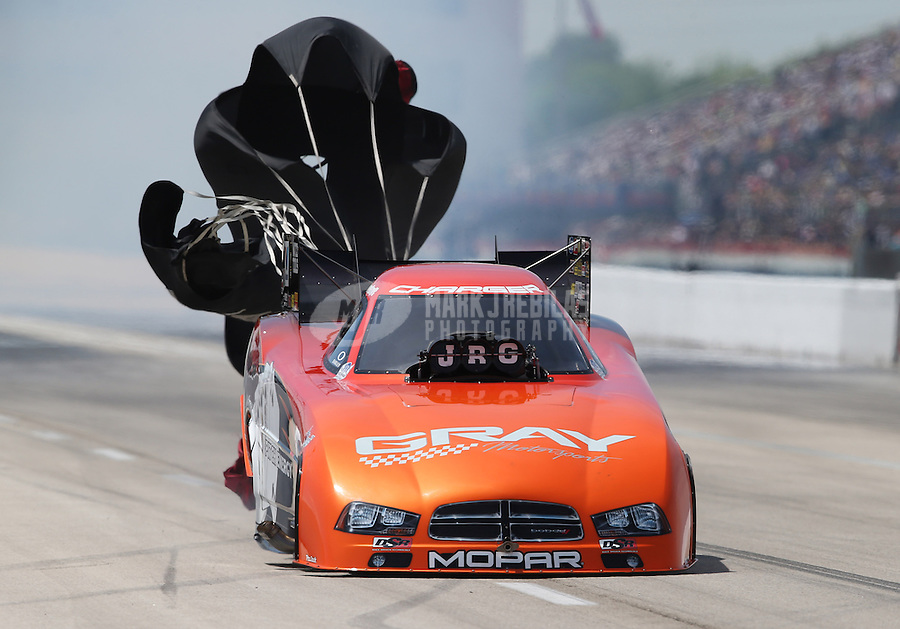 Apr. 28, 2013; Baytown, TX, USA: NHRA funny car driver Johnny Gray during the Spring Nationals at Royal Purple Raceway. Mandatory Credit: Mark J. Rebilas-