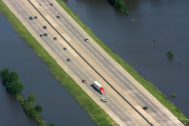 Interstate 35/80 is bookended by floodwater Saturday, June 14, 2008.