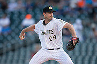 Charlotte Knights starting pitcher Scott Carroll (29) in action against the Gwinnett Braves at BB&T BallPark on August 24, 2015 in Charlotte, North Carolina.  The Knights defeated the Braves 3-2.  (Brian Westerholt/Four Seam Images)