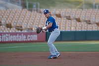 Los Angeles Dodgers third baseman Rylan Bannon (13) during a Minor League Spring Training game against the Seattle Mariners at Camelback Ranch on March 28, 2018 in Glendale, Arizona. (Zachary Lucy/Four Seam Images)