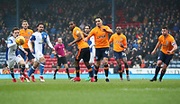 Blackburn Rovers Jack Payne in action with Oldham Athletic's Kean Bryan<br /> <br /> Photographer Rachel Holborn/CameraSport<br /> <br /> The EFL Sky Bet League One - Blackburn Rovers v Oldham Athletic - Saturday 10th February 2018 - Ewood Park - Blackburn<br /> <br /> World Copyright &copy; 2018 CameraSport. All rights reserved. 43 Linden Ave. Countesthorpe. Leicester. England. LE8 5PG - Tel: +44 (0) 116 277 4147 - admin@camerasport.com - www.camerasport.com