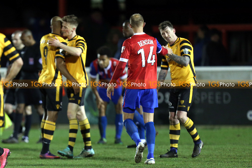 Maidstone players celebrate the victory after Dagenham & Redbridge vs Maidstone United , Vanarama National League Football at the Chigwell Construction Stadium on 28th February 2017
