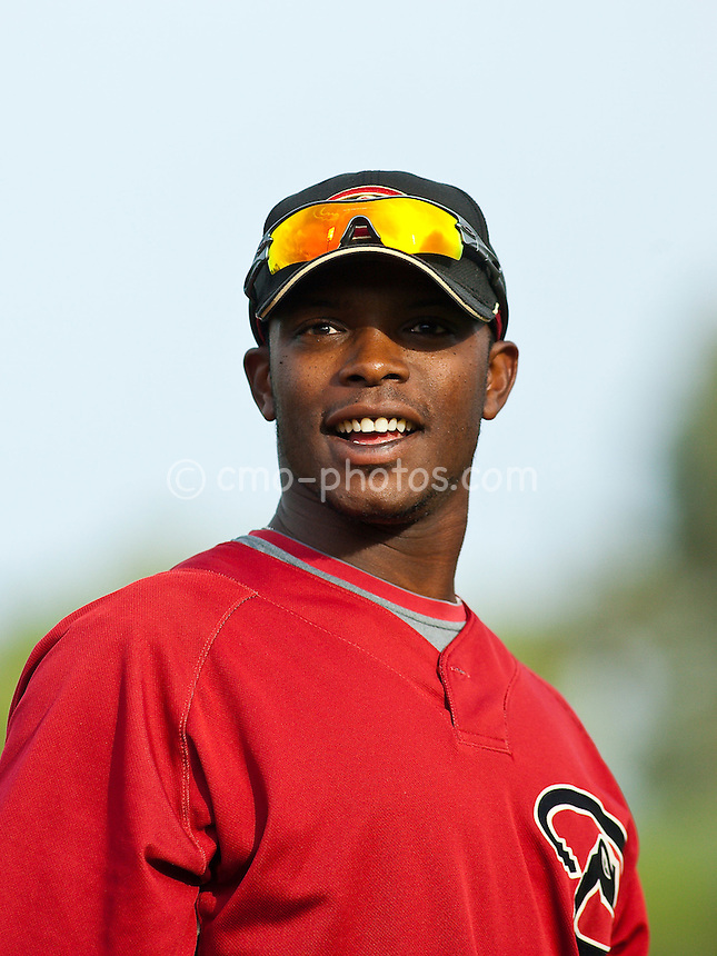 Mar 4, 2009; Tucson, AZ, USA; Arizona Diamondbacks right fielder Justin Upton prior to an exhibition game against Mexico at Tucson Electric Park.