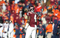 Nov 27, 2010; Charlottesville, VA, USA;  Virginia Tech Hokies running back David Wilson (4) during the game at Lane Stadium. Virginia Tech won 37-7. Mandatory Credit: Andrew Shurtleff-