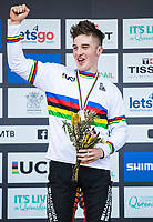 Picture by Alex Broadway/SWpix.com - 10/09/17 - Cycling - UCI 2017 Mountain Bike World Championships - Downhill - Cairns, Australia - Matt Walker of Great Britain celebrates on the podium after winning Gold in the Men's Junior Downhill Final.