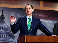 United States Senator Ron Wyden (Democrat of Oregon), the ranking member of the US Senate Finance Committee makes remarks as he and US Senate Minority Leader Chuck Schumer (Democrat of New York) meet reporters in the US Capitol in Washington, DC to denounce the new tax plan announced by US President Donald J. Trump and House and Senate Republicans as tax cuts for the wealthy on Wednesday, September 27, 2017. PhotoCredit: Ron Sachs/CNP/AdMedia