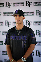 Kevin Ortiz (16) of William B. Travis High School  in Richmond, Texas during the Baseball Factory All-America Pre-Season Tournament, powered by Under Armour, on January 12, 2018 at Sloan Park Complex in Mesa, Arizona.  (Zachary Lucy/Four Seam Images)