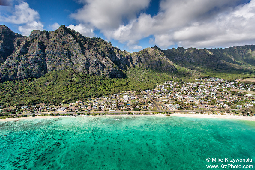 Aerial view of Waimanalo Beach, Oahu