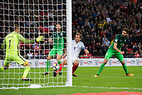 England's Harry Kane scores the opening goal <br /> <br /> Photographer Craig Mercer/CameraSport<br /> <br /> FIFA World Cup Qualifying - European Region - Group F - England v Solvenia - Thursday 5th October 2017 - Wembley Stadium - London<br /> <br /> World Copyright &copy; 2017 CameraSport. All rights reserved. 43 Linden Ave. Countesthorpe. Leicester. England. LE8 5PG - Tel: +44 (0) 116 277 4147 - admin@camerasport.com - www.camerasport.com