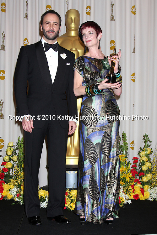 Presenter Tom Ford and costume designer Sandy Powell, winner of Best Costume Design award for 'The Young Victoria,.in the Press Room of the 82nd Academy Awards.Kodak Theater.Los Angeles, CA.March 7, 2010.©2010 Kathy Hutchins / Hutchins Photo....