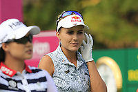 Lexi Thompson (USA) walks off the 1st tee during Friday's Round 2 of The Evian Championship 2018, held at the Evian Resort Golf Club, Evian-les-Bains, France. 14th September 2018.<br /> Picture: Eoin Clarke | Golffile<br /> <br /> <br /> All photos usage must carry mandatory copyright credit (&copy; Golffile | Eoin Clarke)