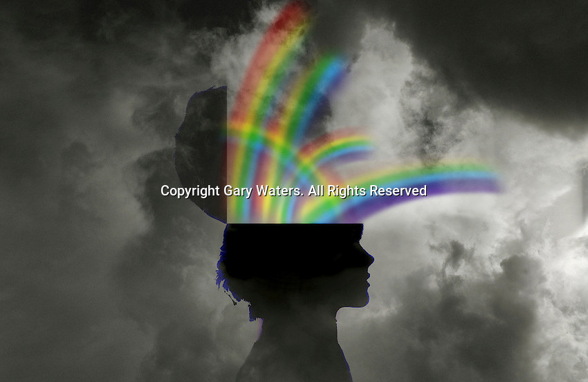 Rainbows emerging from the top of woman's head