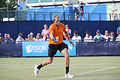 June 15th 2017, Nottingham, England; ATP Aegon Nottingham Open Tennis Tournament day 6;  Forehand from Brydan Klein of Great Britain who lost in two sets to Sam Groth of Australia