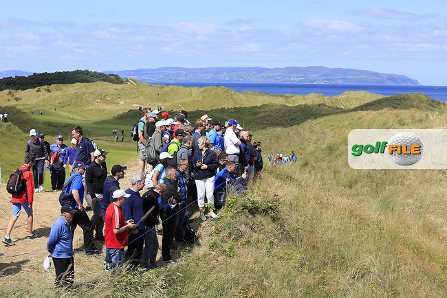 Fans watch Padraig Harrington (IRL) at the 3rd tee during Saturday's Round 3 of the 2017 Dubai Duty Free Irish Open held at Portstewart Golf Club, Portstewart, Co Derry, Northern Ireland. 08/07/2017<br /> Picture: Golffile | Eoin Clarke<br /> <br /> <br /> All photo usage must carry mandatory copyright credit (&copy; Golffile | Eoin Clarke)