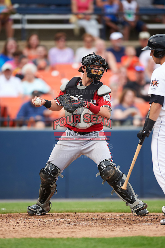 Carolina Mudcats catcher Joseph Odom (6) checks the runner during a game against the Frederick Keys on June 4, 2016 at Nymeo Field at Harry Grove Stadium in Frederick, Maryland.  Frederick defeated Carolina 5-4 in eleven innings.  (Mike Janes/Four Seam Images)