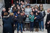 Le roi Philippe de Belgique, La reine Mathilde de Belgique, la princesse Maria Esmeralda de Belgique et la princesse L&eacute;a de Belgique assistent &agrave; la messe c&eacute;l&eacute;br&eacute;e  &agrave; la m&eacute;moire des Membres d&eacute;funts de la Famille Royale. en l'&eacute;glise Notre-Dame &agrave; Laeken. <br /> Belgique, Bruxelles, 17 f&eacute;vrier 2017.<br /> Queen Mathilde of Belgium, King Philippe of Belgium, Princess Maria Esmeralda of Belgium and Princess Lea of Belgium pictured during a special Mass to commemorate the deceased members of the Belgian Royal Family, at the Eglise Notre-Dame, in Laeken.<br /> Brussels, Friday 17 February 2017