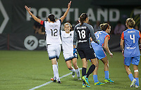 Portland, OR - Wednesday Sept. 07, 2016: Christine Sinclair celebrates scoring during a regular season National Women's Soccer League (NWSL) match between the Portland Thorns FC and the Houston Dash at Providence Park.