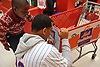 Dominic Smith, New York Mets rookie first baseman, inks a message to David Oche, 7, after accompanying him on the team's Holiday Shopping Spree at Target in Elmhurst, NY on Wednesday, Nov. 29, 2017.