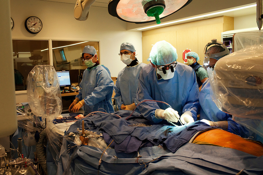 Los Angeles, California, May 14, 2012 - Patient Robert Noonan undergoes a Transcatheter  Aortic Valve Replacement (TAVR) under the direction of Raj Makkar, MD, Director, Interventional Cardiology at Cedar-Sinai Heart Institute.