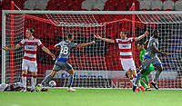 Lincoln City's John Akinde celebrates scoring the opening goal<br /> <br /> Photographer Chris Vaughan/CameraSport<br /> <br /> EFL Leasing.com Trophy - Northern Section - Group H - Doncaster Rovers v Lincoln City - Tuesday 3rd September 2019 - Keepmoat Stadium - Doncaster<br />  <br /> World Copyright © 2018 CameraSport. All rights reserved. 43 Linden Ave. Countesthorpe. Leicester. England. LE8 5PG - Tel: +44 (0) 116 277 4147 - admin@camerasport.com - www.camerasport.com