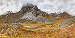 Composite panorama of Archangel Valley at Hatcher Pass in Southcentral Alaska. Autumn. Morning.