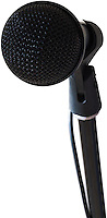 a black microphone on a stand pointed towards the viewer