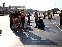 May 16, 2014; Commerce, GA, USA; NHRA top fuel dragster driver Doug Kalitta and crew during qualifying for the Southern Nationals at Atlanta Dragway. Mandatory Credit: Mark J. Rebilas-USA TODAY Sports