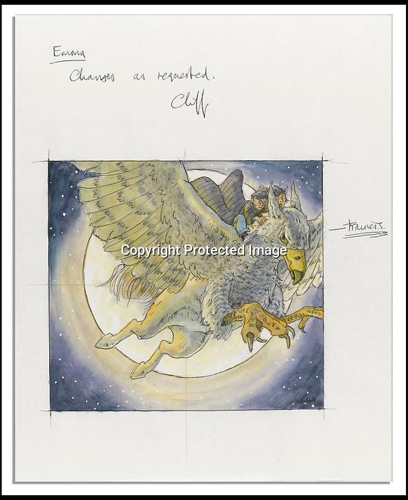 BNPS.co.uk (01202 558833)<br /> Pic: NateDSanders/BNPS<br /> <br /> Two rare pieces of original artwork from the front covers of J.K. Rowling's best-selling Harry Potter series have emerged for sale for a whopping 20,000 pounds.<br /> <br /> The watercolour sketches depict famous scenes from The Chamber of Secrets and The Prisoner of Azkaban, the second and third of the groundbreaking Harry Potter books.<br /> <br /> British artist Cliff Wright designed the the cover art for The Chamber of Secrets which features trainee wizard Harry, pal Ron Weasley and his owl Hedwig flying in a magic Ford Anglia car.<br /> <br /> Harry and Ron steal the fantastical car from Mr Weasley so they can travel back to Hogwarts School of Witchcraft and Wizardry in the 1998 follow up to The Philosopher's Stone.<br /> <br /> The following year Wright was commissioned to illustrate the third book in the series The Prisoner of Azkaban.<br /> <br /> For the front cover, he came up with an image of Harry, played by Daniel Radcliffe in the film franchise, and friend Hermione, portrayed on screen by Emma Watson, travelling back in time.<br /> <br /> The pair are shown riding on the back of Buckbeak, a mystical hippogriff - part eagle, part horse.<br /> <br /> The illustration up for sale is Wright's third draft and features handwritten notes in the margins.<br /> <br /> The Chamber of Secrets cover art is expected to sell for upwards of 12,000 pounds when it goes under the hammer, while bidding for the Prisoner of Azkaban illustration starts at 7,500 pounds.<br /> <br /> They are being sold by Los Angeles auction house Nate D. Sanders on behalf of private owners.