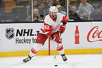 September 26, 2018: Detroit Red Wings right wing Martin Frk (42) passes the puck during the NHL pre-season game between the Detroit Red Wings and the Boston Bruins held at TD Garden, in Boston, Mass. Detroit defeats Boston 3-2 in overtime. Eric Canha/CSM