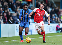 Fleetwood Town's Lewis Coyle competing with Gillingham's Brandon Hanlan<br /> <br /> Photographer Andrew Kearns/CameraSport<br /> <br /> The EFL Sky Bet League One - Gillingham v Fleetwood Town - Saturday 3rd November 2018 - Priestfield Stadium - Gillingham<br /> <br /> World Copyright © 2018 CameraSport. All rights reserved. 43 Linden Ave. Countesthorpe. Leicester. England. LE8 5PG - Tel: +44 (0) 116 277 4147 - admin@camerasport.com - www.camerasport.com