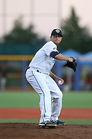 Lawrence Pardo (7) of the Hillsboro Hops pitches during a game against the Salem-Keizer Volcanoes at Ron Tonkin Field on July 27, 2015 in Hillsboro, Oregon. Hillsboro defeated Salem-Keizer, 9-2. (Larry Goren/Four Seam Images)