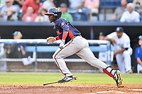 Rome Braves Michael Harris (2) runs to first base during a game against the Asheville Tourists at McCormick Field on August 12, 2019 in Asheville, North Carolina. The Tourists defeated the Braves 11-6. (Tony Farlow/Four Seam Images)