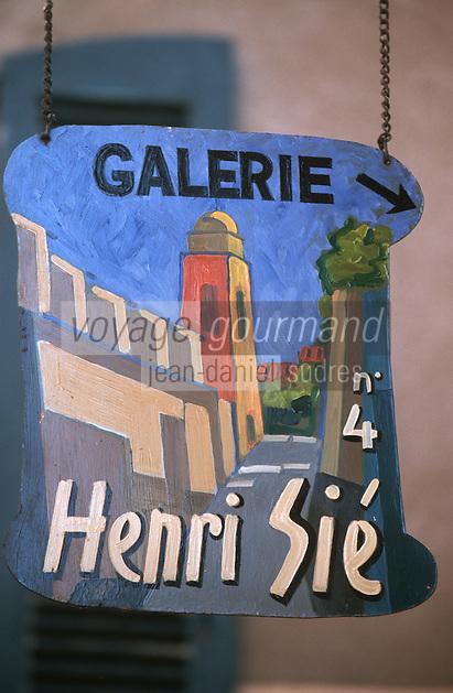 Europe/France/Provence-Alpes-Côte d'Azur/83/Var/Saint-Tropez: Détail enseigne galerie d'art