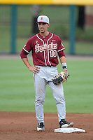 Florida State Seminoles shortstop Justin Gonzalez (10) during a game against the South Florida Bulls on March 5, 2014 at Red McEwen Field in Tampa, Florida.  Florida State defeated South Florida 4-1.  (Mike Janes/Four Seam Images)