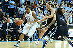 03 February 2013: North Carolina's Tierra Ruffin-Pratt (44) is defended by Tricia Liston and Chloe Wells (4). The University of North Carolina Tar Heels played the Duke University Blue Devils at Carmichael Arena in Chapel Hill, North Carolina in an NCAA Division I Women's Basketball game. Duke won the game 84-63.