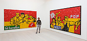 London, UK. 25 November 2014. Great Criticism: Benetton, 1992 and Great Crisicism: Swatch and Great Criticism: Pop, 1992 by artist Wang Guangyi. Press preview of the new exhibition Post Pop: East Meets West at the Saatchi Gallery, London. The Tsukanov Family Foundation and Saatchi Gallery present the first comprehensive exhibition examining why Pop Art has had such a powerful influence over artists from world regions that had or still have very different and sometimes opposing ideologies. The exhibition brings together 250 works by 110 renowned artists from China, the Former Soviet Union, Taiwan, the UK and USA in the largest survey to date exploring Pop Art's enduring legacy. The exhibition is open to the public from 26 November 2014 to 23 February 2015, admission is free. Photo: Bettina Strenske
