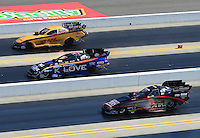 Apr. 14, 2012; Concord, NC, USA: NHRA funny car drivers (top to bottom) Jeff Arend , Tony Pedregon and Blake Alexander during qualifying for the Four Wide Nationals at zMax Dragway. Mandatory Credit: Mark J. Rebilas-
