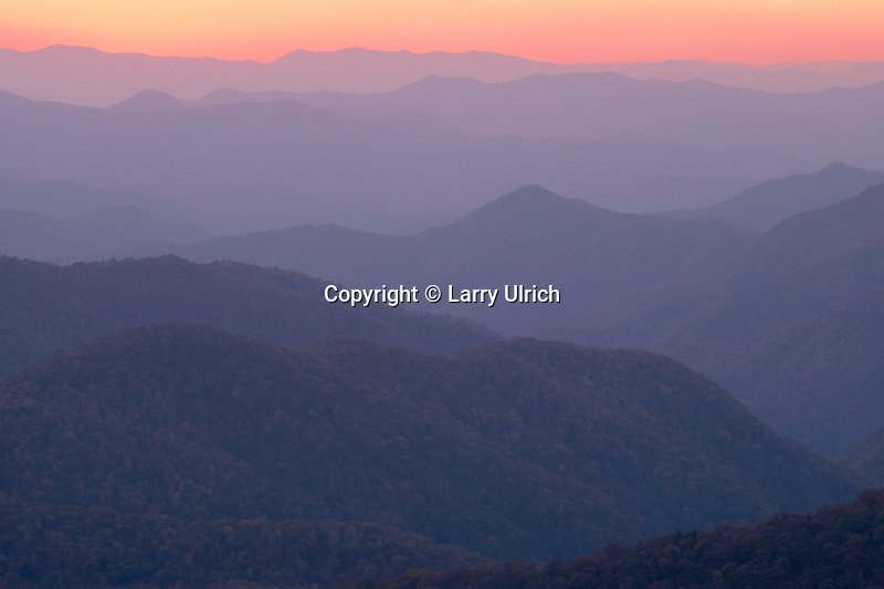 Sunset from Caney Fork Overlook<br /> Blue Ridge Parkway<br /> Blue Ridge Mountains<br /> North Carolina