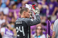 Orlando, FL - Saturday April 22, 2017: Ashlyn Harris during a regular season National Women's Soccer League (NWSL) match between the Orlando Pride and the Washington Spirit at Orlando City Stadium.