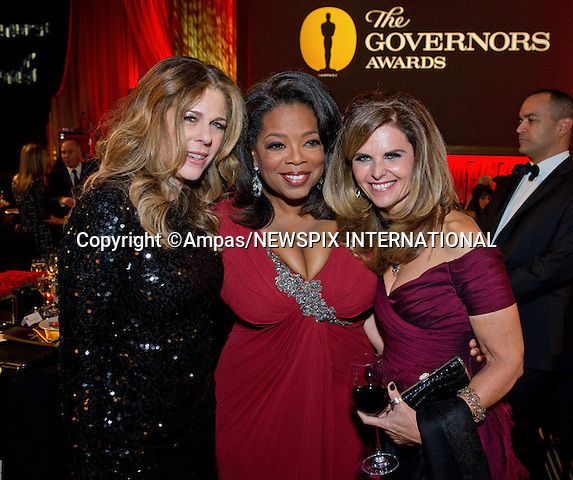 """OPRAH WINFREY, MARIA SHRIVER AND RITA WILSON.attend the 2011 Governors Awards in the Grand Ballroom at Hollywood & Highland in Hollywood, Los Angeles_12/11/2011.Oprah was the recipient of the Jean Hersholt Humanitarian Award..Mandatory Photo Credit: ©Wawrychuk/Newspix International..**ALL FEES PAYABLE TO: """"NEWSPIX INTERNATIONAL""""**..PHOTO CREDIT MANDATORY!!: NEWSPIX INTERNATIONAL(Failure to credit will incur a surcharge of 100% of reproduction fees)..IMMEDIATE CONFIRMATION OF USAGE REQUIRED:.Newspix International, 31 Chinnery Hill, Bishop's Stortford, ENGLAND CM23 3PS.Tel:+441279 324672  ; Fax: +441279656877.Mobile:  0777568 1153.e-mail: info@newspixinternational.co.uk"""