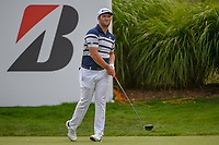 Jon Rahm (ESP) watches his tee shot on 16 during 1st round of the World Golf Championships - Bridgestone Invitational, at the Firestone Country Club, Akron, Ohio. 8/2/2018.<br /> Picture: Golffile | Ken Murray<br /> <br /> <br /> All photo usage must carry mandatory copyright credit (&copy; Golffile | Ken Murray)