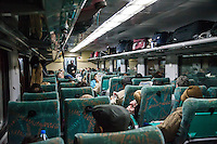 Agra, India.  Passenger Train Car en route to Agra from Delhi.