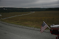 SHANKSVILLE, PA - SEPT 11: People pay their respects at a temporary memorial to the victims of Flight 93, which crashed on September 11, 2001, in an empty field near Shanksville, PA, on the 7th year anniversary of the crash on Thursday, September 11, 2008. (Photo by Landon Nordeman)