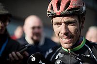 Philippe Gilbert (BEL/Lotto-Soudal) interviewed post-race<br /> <br /> 75th Omloop Het Nieuwsblad 2020 (1.UWT)<br /> Gent to Ninove (BEL): 200km<br /> <br /> ©kramon