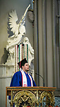 Ben Gartland, a College of Communication graduate, offers the first reading as his fellow graduates join friends and family members for the annual Baccalaureate Mass at the Saint Vincent de Paul Parish Church on DePaul University's Lincoln Park Campus Friday, June 9, 2017. The event was part of the 119th commencement ceremonies for the Chicago university. (DePaul University/Jamie Moncrief)
