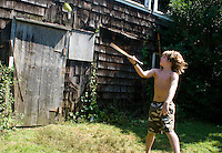 Lucas playing in the Roofball tournament at the Wiseman reunion for Daddy's 80th birthday at the Barn, Bridgehampton compound Summer 2009