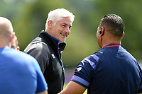 Bath Director of Rugby Todd Blackadder speaks with Bristol Rugby Head Coach Pat Lam during the pre-match warm-up. Pre-season friendly match, between Bristol Rugby and Bath Rugby on August 12, 2017 at the Cribbs Causeway Ground in Bristol, England. Photo by: Patrick Khachfe / Onside Images